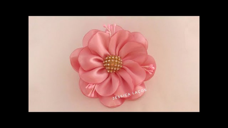 DIY PAP Flor de cetim facilsatin flowerEasy satin flower