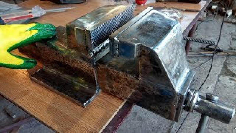 Крутая самоделка, супер мощные тиски. Homemade bench vise