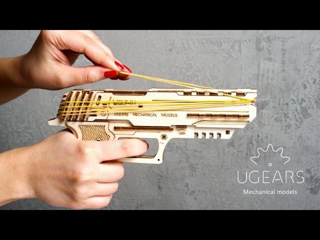 Ugears Wolf-01 Handgun mechanical model kit for self-assembly then play