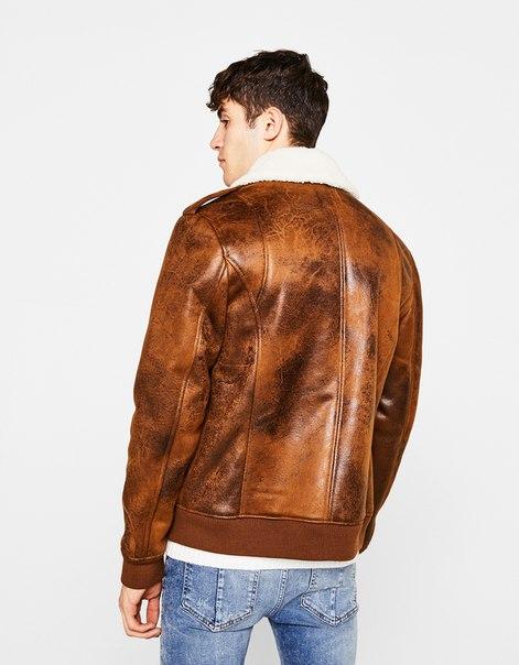 Куртка из искусственной кожи с мехом под овчину