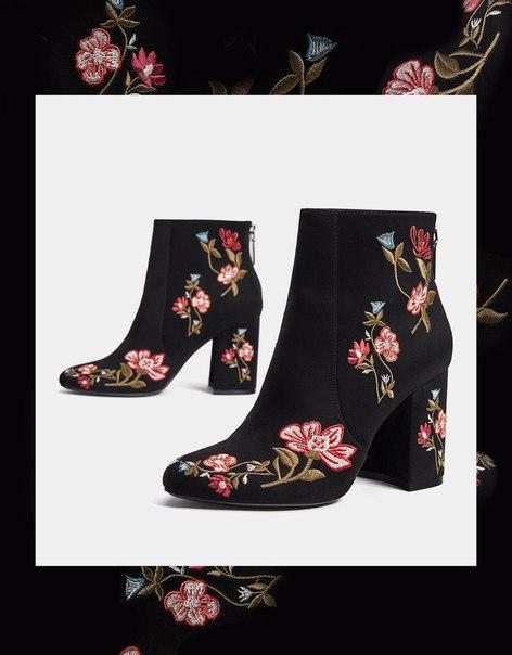 Полусапоги на каблуках с вышивкой