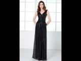 Чёрное платье в пол из пайеток с V-вырезом на молнии