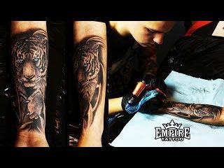 Tatuaż tygrys, praca za 2 godziny. Empire Tattoo