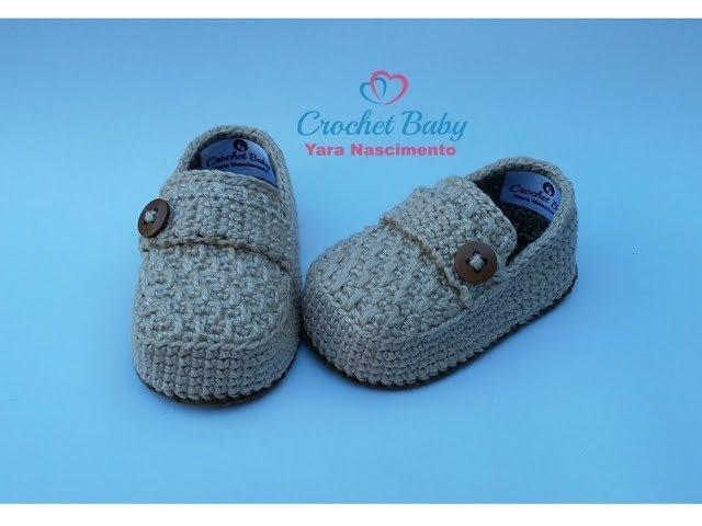 Mocassim THÉO FELIPPE de Crochê - Tamanho 09 cm - Crochet Baby Yara Nascimento