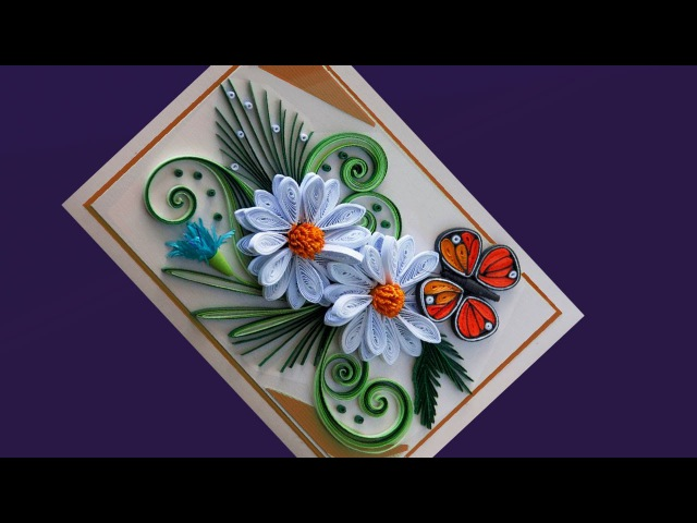 ✅Paper Quilling | How to make Beautiful White flowers and butterfly fo Birthday Gift Card