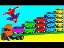 Большой Грузовик и Цветные Машинки Человек Паук и Супергерои Учим Цвета и Цифры ...