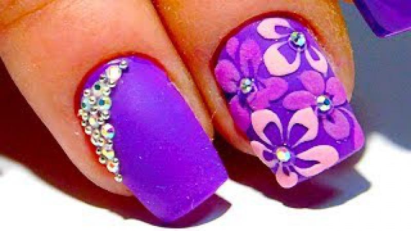 ТОП Красивый дизайн ногтей. Сиреневый цветок 2017 новинки от мастера маникюра nail 2017 » Freewka.com - Смотреть онлайн в хорощем качестве