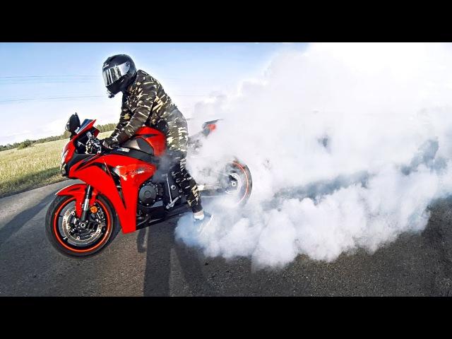 Как не надо ЖЕЧЬ РЕЗИНУ на мотоцикле Неудачный трюк BURNOUT на спортбайке