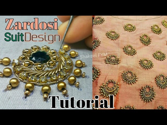 Aari Work Suit Design Tutorial | Zardosi work design | Embroidery Work