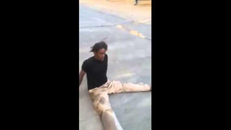 Man on drugs making random noises in parking lot.