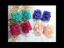 Резинки бантики из лент канзаши МК / hair clips ribbon kanzashi DIY