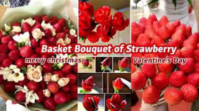 Basket Bouquet of Strawberry for my girlfriend | បាច់ផ្កាស្ទ័របូរីសម្រាប់មនុស្6