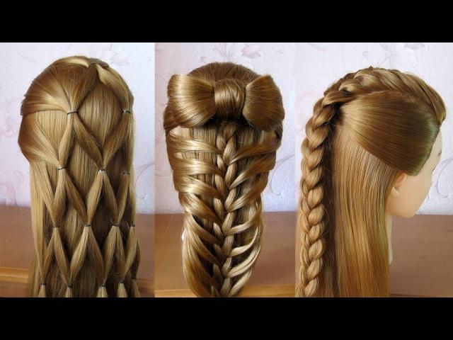 3 coiffures faciles 🌺 Coiffures pour tous les jours, cheveux mi long / long