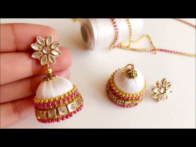How to make beautiful silk thread jhumkas||silk thread elegant white jhumkas with kundans