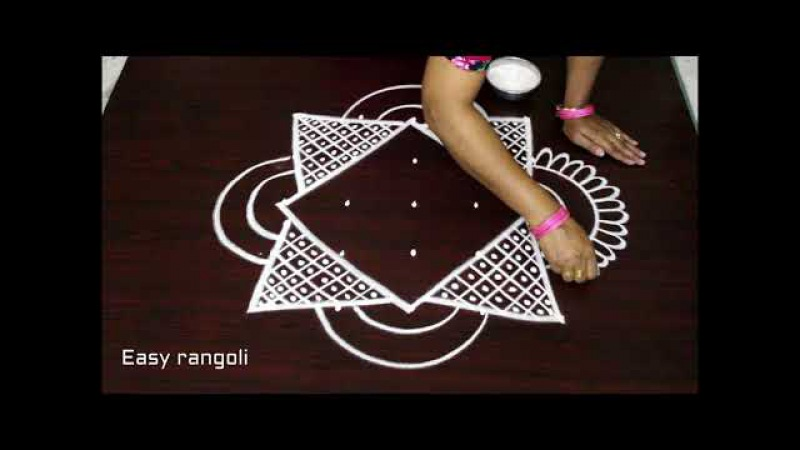 Beautiful kolam designs with 5 dots || simple and easy rangoli designs with dots || muggulu designs