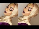 Purple eyeshadow with gold glitter bold lips | Sabina Hannan