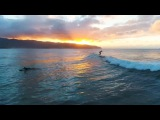 surfing under the sunset