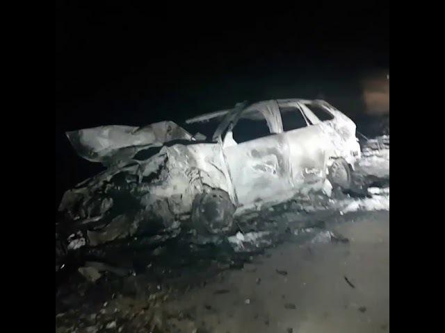 Автомобиль сгорел на трассе Карасу-Койбагор в Карасуском районе (декабрь 2017)