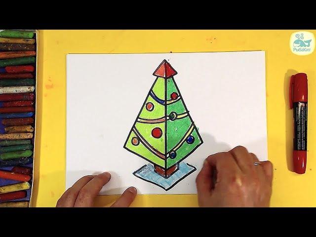 3Д ЁЛКА Как нарисовать 3D рисунок на новый год Елочку