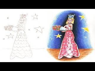 Папа раскрашивает рисунки своих детей превращая чудесные рисунки