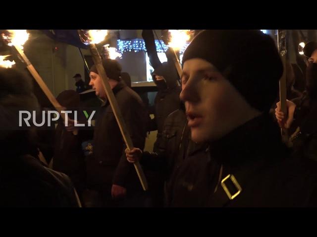 Ukraine: Torch-bearing nationalists commemorate 124th anniversary of 'Sokol' mvt.