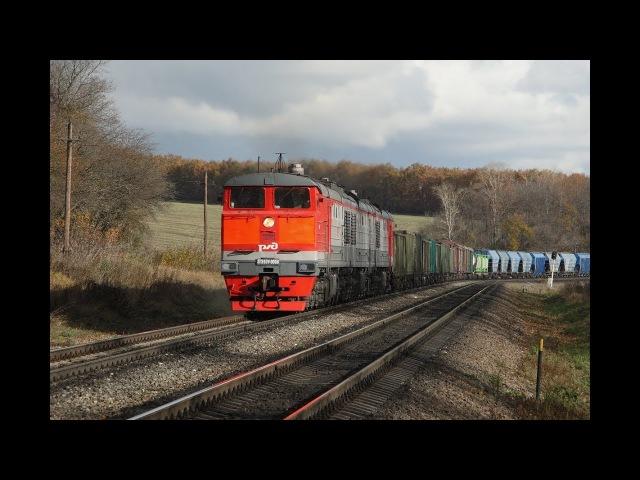 3ТЭ10У 0008 с грузовым поездом на пл. 332 км (Перегон Малая Андреевка - Ефремов) Московской жд.