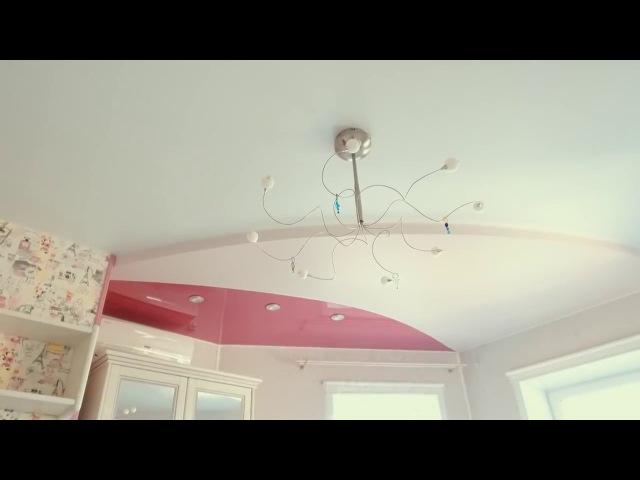 Монтаж двухуровневого натяжного потолка в Оренбурге в спальне девочки | Натяжные потолки Оренбург