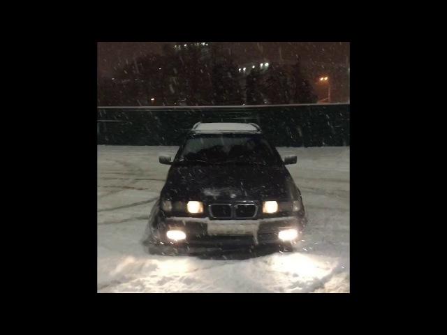 BMW E36 M43B16 первый снег-первый дрыфт 20.01.2018