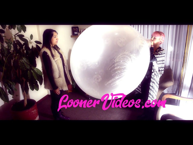 Amanda Hoover and Mia Blowing 2 GIANT BALLOONS