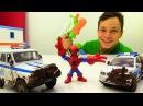 Видео игрушки Фёдор и ЧеловекПАУК отмывают Полицейские МАШИНКИ 🚓 Игры для ма