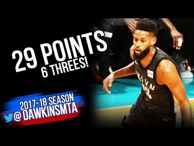 Allen Crabbe Full Highlights 2018.3.8 Brooklyn Nets at Hornets - 29 Pts, 6 Threes! | FreeDawkins