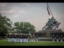 The Marine Corps War Memorial. Военная церемония у Мемориала в честь погибших Морских пехотинцев США.