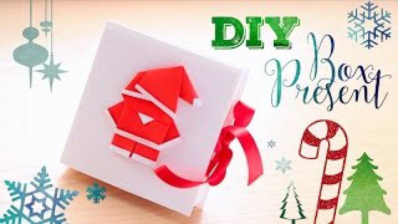 D.I.Y origami santa. Подарочная коробка и оригами Дед Мороз