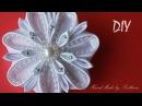 Белый цветок КАНЗАШИ на Заколке Мастер класс DIY White flower KANZASHI