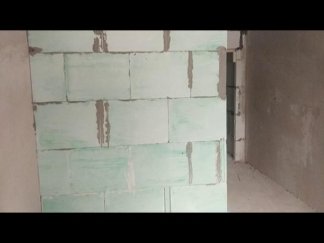Ремонт квартиры в Казани. Выкладываем перегородки из пазогребневых плит.