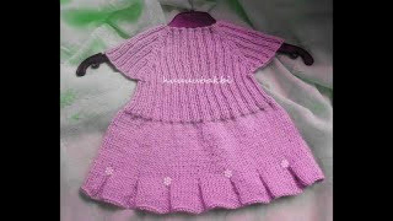 Dikişsiz volanlı örgü bebek elbisesi(elbise yapmak istemeyen erkek çocuk kazağı yapsın)