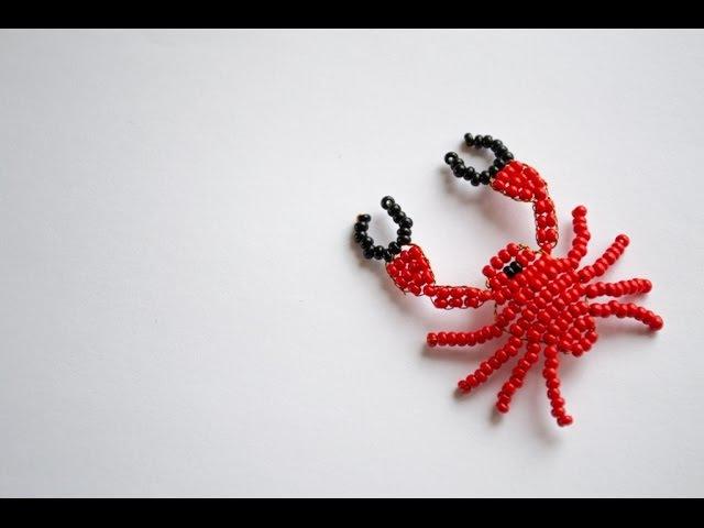 Игрушки из бисера. Краб. Плетение для начинающих.