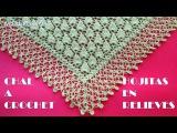 Chal triangular a crochet HOJAS PEQUE