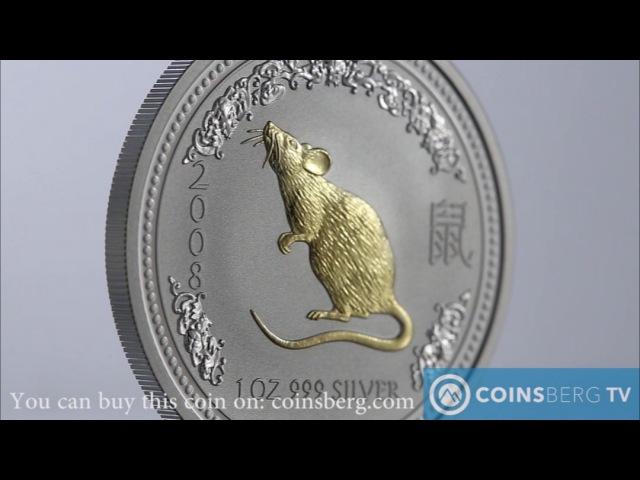 Coinsberg TV: 2008 Австралия $1 Год Крысы - серебряная монета из серии Лунный Зодиак (I)