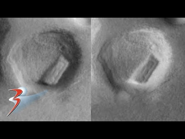 Megalith inside crater on Mars or hollowed out mound?