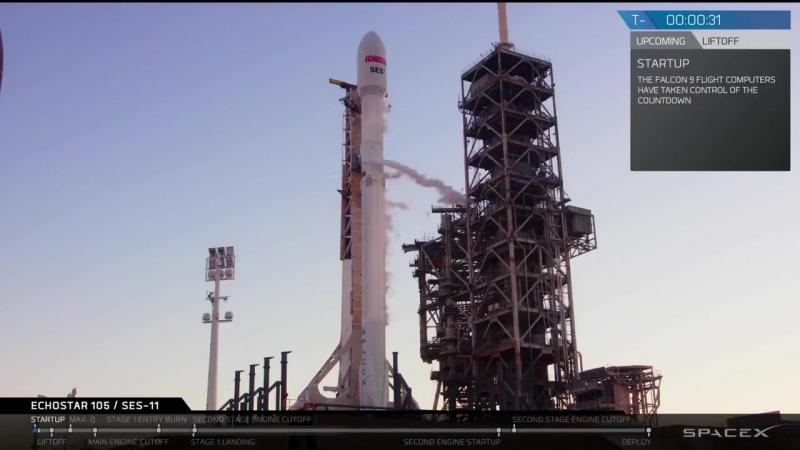 Пуск вывод на орбиту и возврат первой ступени РН SpaceX Falcon 9 со спутником EchoStar 105 SES 11