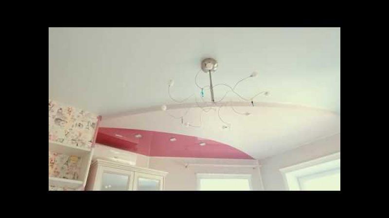 Монтаж сложного двухуровневого натяжного потолка в детской девочки