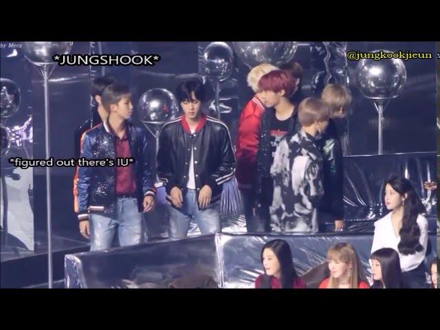 FANCAM [ 171202 ] BTS members pushing Jungkook to sit next to IU @ Melon Music Awards 2017