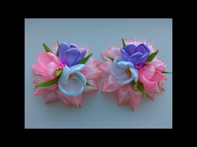 Нарядные Весенние бантики из лент МК Канзаши Spring dressy ribbon bows Kanzashi MK