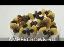 Яркие бусы шайба-шар из натурального балтийского янтаря