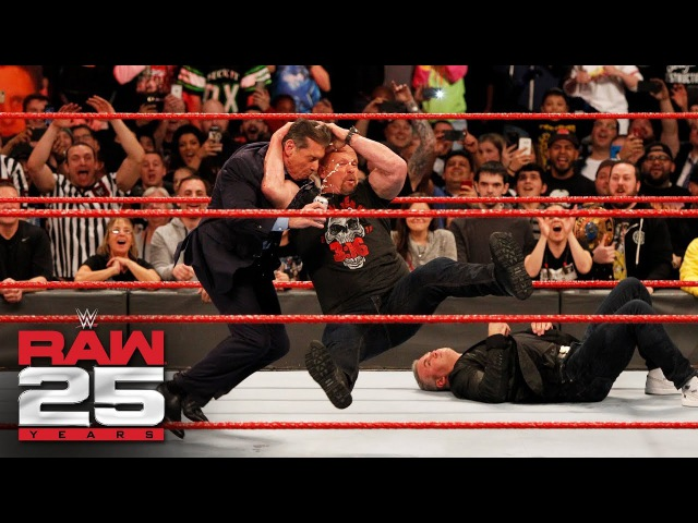 Stone Cold Steve Austin Stuns Shane and Mr. McMahon Raw 25, Jan. 22, 2018