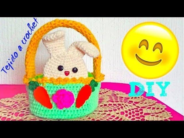 Canasta con Conejitos Tejida a crochet - Tutorial Rapido