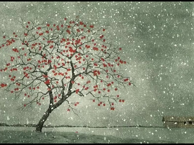 Persimmon in Snow, Tanaka Ryohei. Animated ukiyo-e.