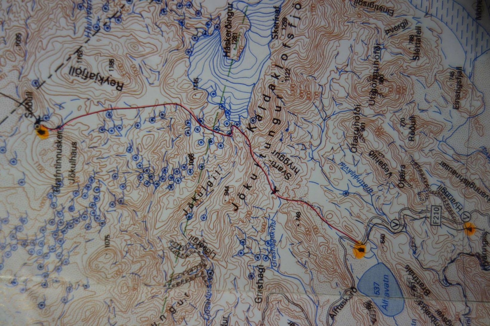 карта Исландия поход