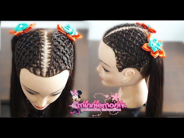 Peinados para niña dos coletas con tejido de malla